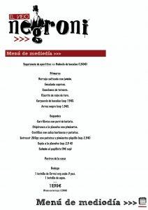 Menú del día Viejo Negroni