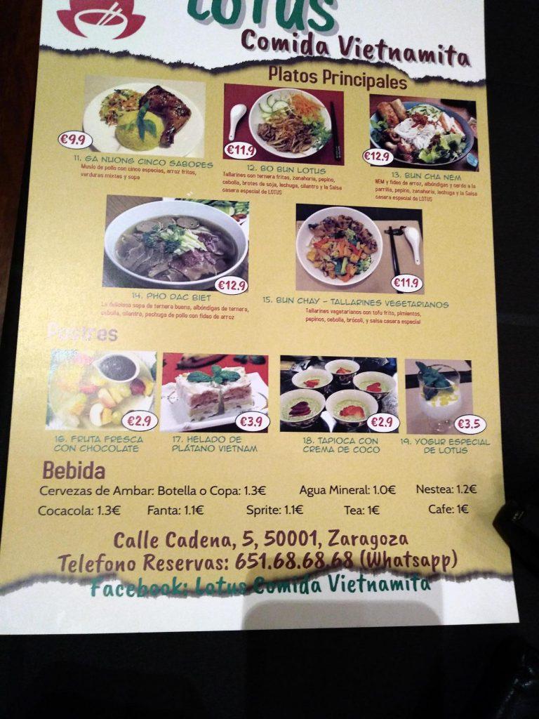 Carta platos Restaurante Lotus comida Vietnamita Zaragoza