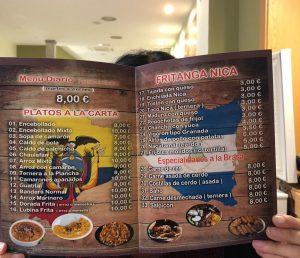 menú restaurante Dúo Latino de Zaragoza