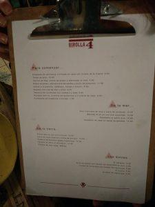 carta restaurante la Birolla Zaragoza