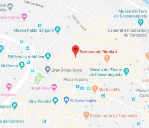 mapa restaurante la Birolla de Zaragoza