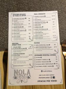 carta restaurante Nola Gras de Zaragoza