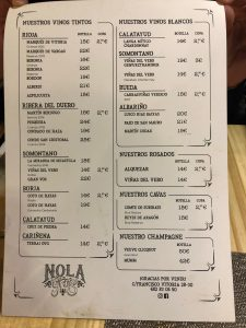 carta vinos restaurante Nola Gras de Zaragoza