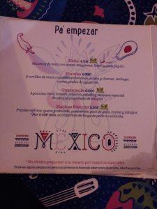 carta 1 restaurante distrito mexico Zaragoza