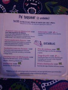 carta 2 restaurante distrito mexico Zaragoza