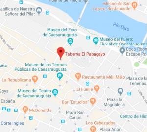 mapa taberna el papagayo de Zaragoza