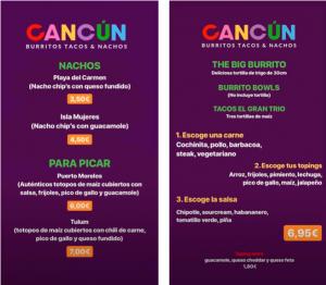 menu restaurante cancun burritos zaragoza