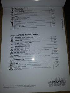 carta restaurante Izakaya Zaragoza