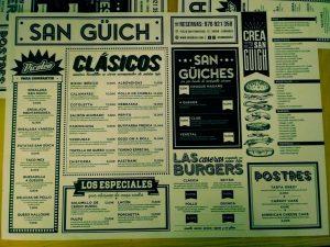 carta restaurante san guich zaragoza