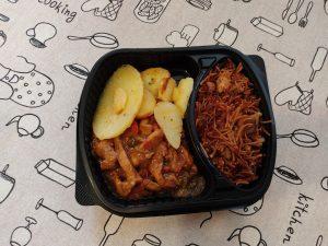 fideua y pollo teriyaki restaurante la tradicional de zaragoza
