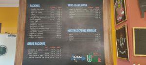 carta restaurante casa Andalucía