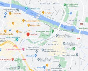 mapa restaurante Bombín Zaragoza